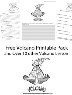 Free Volcano Printable Pack and over 10 volcano lesson plan ideas for teaching about volcanoes. Perfect for a volcano science fair project. Volcano Science Fair Project, Volcano Projects, Science Fair Projects, Science Lessons, Teaching Science, Science Resources, Science Ideas, Volcano Experiment, Geography Lessons