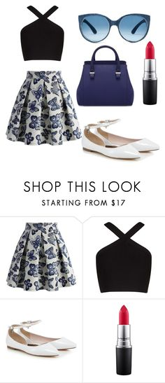 """""""outfit by my little sister 🤘💙💜"""" by iulia-ab ❤ liked on Polyvore featuring Chicwish, BCBGMAXAZRIA, MAC Cosmetics and Mosevic"""