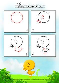 Dessin1_Comment dessiner un petit canard ? Drawing Lessons, Drawing Prompt, Art Lessons, Art Drawings For Kids, Drawing For Kids, Animal Drawings, Easy Drawings, Animal Crafts For Kids, Art For Kids