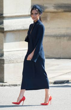Victoria Beckham attends the wedding of Prince Harry to Ms Meghan Markle at St George's Chapel Windsor Castle on May 19 2018 in Windsor England...