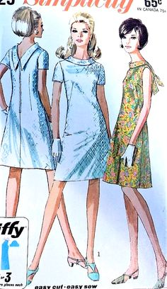 CUTE Mod Day or Party Dress Pattern SIMPLICITY 7129 Two Versions Bust 33 EASY To Sew Jiffy Vintage Sewing Pattern-Authentic vintage sewing patterns: This is a fabulous original dress making pattern, not a copy. Because the sewing patterns are v Dress Making Patterns, Vintage Dress Patterns, Clothing Patterns, Vintage Dresses, Vintage Outfits, 1960s Fashion, Vintage Fashion, Patron Vintage, Evolution Of Fashion