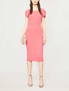 ROLAND MOURET - Royston asymmetric-sleeve wool-crepe dress | Selfridges.com