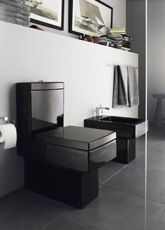 Duravit - Bathroom design series: Vero - washbasins, toilets, bidets and bath tubs from Duravit. Duravit, Decorating Bathroom Shelves, Pirate Bathroom, Toilette Design, Black Toilet, Bathroom Toilets, Washroom, Shelf Design, Design Moderne