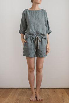 Linen kimono blouse/ Drop shoulder blouse/ Linen pajamas/ Linen sleepwear set/ Linen shorts/ Pajama short set/ CHLOE top and ELLA shorts Linen Trousers, Linen Shorts, Chloe, Kimono Blouse, Sleepwear Sets, Pajama Shorts, Plus Size Blouses, Drop, Pajama Set