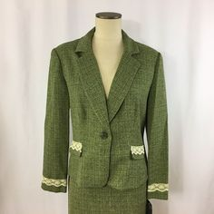 Women's Suit Skirt Scarlett Size 14 Green and Cream Lace Machine Wash #Scarlett #SkirtSuit