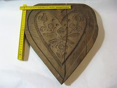 Altes großes Holzmodel Springerle Lebkuchenherz Herz Marzipan Backform 29x34cm