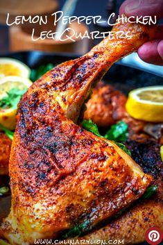 Chicken Quarter Recipes, Chicken Recipes, Chicken Leg Quarters Oven, Lemon Pepper Chicken, Butter Chicken, Dried Lemon, Fire Food, Roasted Chicken, Baked Chicken Legs