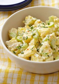 Best Creamy Potato Salad – Hard-cooked eggs, tender Yukon gold potatoes and KRAFT Zesty Italian Dressing take the classic potluck dish to new heights. Potato Dishes, Potato Recipes, Food Dishes, Side Dishes, How To Cook Potatoes, How To Cook Eggs, Creamy Potato Salad, Yukon Gold Potato Salad Recipe, Cooking Recipes