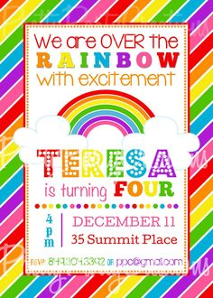 This listing is for a personalized CHEVRON RAINBOW invitation. YOU PRINT This is a digital file that will be sent to you upon purchase Rainbow Birthday Party, Rainbow Theme, 2nd Birthday Parties, Birthday Cards, Rainbow Baby, Baby Birthday, Birthday Ideas, Rainbow Party Invitations, Birthday Invitations