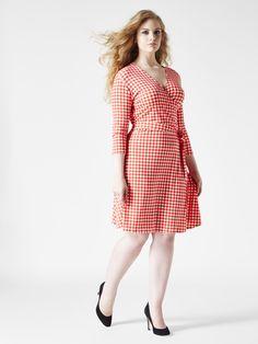gingham full figure wrap dress