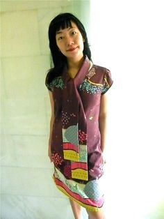 echino dress with scarf Scarf Dress, Dress Skirt, Echino, Japanese Sewing, Plain Dress, Purple Scarves, Sewing Patterns, Skirts, Fabric