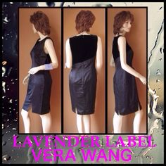 HPVera Wang Lavender Label Satin Velvet Dress Sleeveless smooth black satin dress with velvet asymmetrical shoulder. Straight fit medium weight. Satin comprised of 60% silk and 40% rayon. Velvet 80% viscous and 20% silk. 100% silk lining.  US size 6-Italian size 40. PayPay Trades Vera Wang Dresses