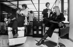 Cartias `His & `Hers salon; customers Francois Catroux & wife sit next to each other; woman barber does the gentlemens hair while a male hairstylist does the ladys hair in Paris, France. Date taken: 1968 Photographer: Bill Ray His And Hers Salon, Still Image, Portrait Photography, Salons, Life, Paris France, Barber, Portraits, Woman