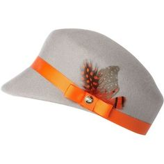 Ted Baker Military style hat with bow and feather trim