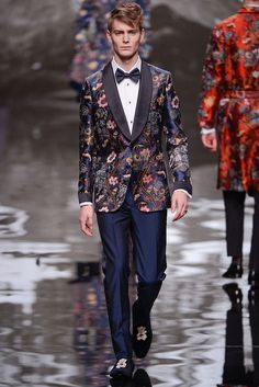 Louis Vuitton Mens Fall 2014 Show Chapman Brothers x Louis Vuitton Floral Embroidered Blazer