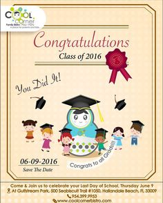 Today Come & Join Us To Celebrate Last Day Of School!!!! Congrats To All Grads!!! #CoolCornerBistro Class Of 2016, Last Day Of School, Save The Date, Congratulations, Join, Play, Cool Stuff, Celebrities, Instagram