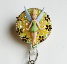 TinkerBell Standing Tall ID Badge Reel - ID Badge Holder - Zippers - Vintage - Recycle - Zipperedheart by ZipperedHeart on Etsy