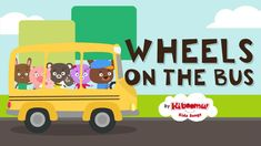 Wheels on the Bus Go Round and Round music video with lots of action!  Fun for kids.  #kidsongs #nurseryrhymes