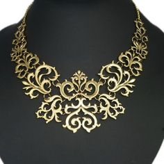Gorgeous Vintage Abstract Floral Pendants Chain Choker Necklace