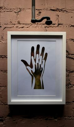 Framed Papercut artwork  'Hands' cut from one by GarethCrossley, £28.00