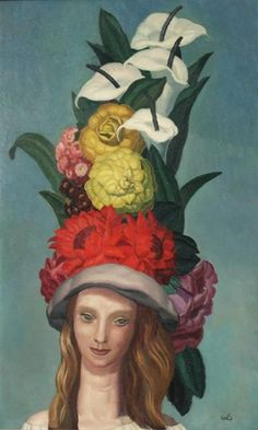 ⊰ Posing with Posies ⊱ paintings of women and flowers - Woman with Flowered Hat - Jean Dupas