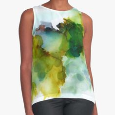Loose Fitting Women's Tank Top Flowing Silky Feel Colorful Wearable Art Tie Dye Office Attire Summer Tank Green Aqua Blue Eggplant by therawcanvas on Etsy