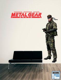 Adesivo Decorativo Games - Metal Gear Solid Snake :: Metal Gear é uma série de jogos enquadrados na categoria stealth, ou seja, jogos de espionagem com ação, criada por Hideo Kojima e produzida pela Konami. Nele, o jogador tem o controle de um soldado altamente treinado em infiltração (Solid Snake, Big Boss ou Raiden) e tem que enfrentar armas com capacidade de destruição em massa. Agora Snake esta disponivel nesse super adesivo de parede gigante de Metal Gear Solid.