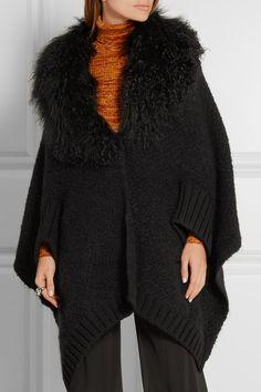 Fendi   Shearling-trimmed wool-blend cardigan   NET-A-PORTER.COM