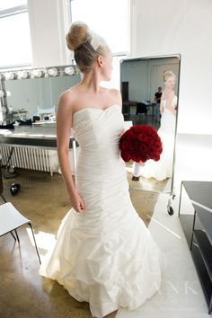 Planned, Designed & Produced by www.swankproductions.com Candlelight Wedding at Tribeca Rooftop. Bride's Wedding Dress, Veil and Red Bouquet #BRIDE #WEDDING #DRESS #BRIDAL #GOWN #RED #BOUQUET #FLOWERS #CANDLELIGHT #WEDDING #TRIBECA #ROOFTOP #WEDDING #INSPIRATION #IDEAS #DECOR