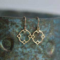 Moroccan Dangle Earrings in Gold, Marrakech Jewelry, Gift for Her, Gold Dangle Earrings, Moorish Dangle Earrings in vermeil by Blissaria - Ready to