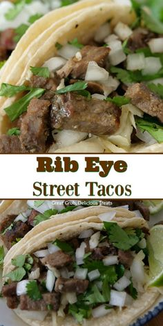 Rib Eye Street Tacos are incredibly delicious, loaded with leftover diced up rib eye, white onions and cilantro, all stuffed between corn tortillas. #ribeye #tacos #streettacos #tacotuesday #mexicanfood #greatgrubdelicioustreats Cuban Recipes, Barbecue Recipes, Dinner Recipes, Filipino Recipes, Beef Recipes, Yummy Food, Good Food, Street Tacos, Beef Casserole