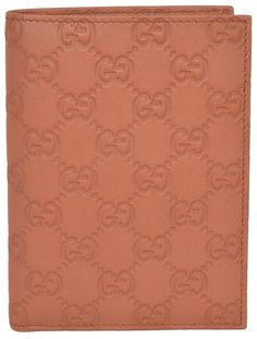 NEW Gucci 346079 Saffron Tan Leather GG Guccissima Passport Holder Bifold Wallet #Gucci