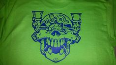 Motor Head VW T Shirt, Shown in Lime Green w/ Blue design color by MandTVinylGraphics on Etsy