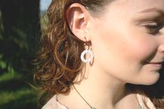 delicate small crocheted white dangle earring, lace, antiqued brass $9.00  loomstruck.etsy.com