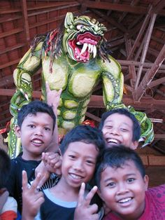 Village kids with Ogoh Ogoh monster for New Years in Bali. Photo by Taryn Koerker