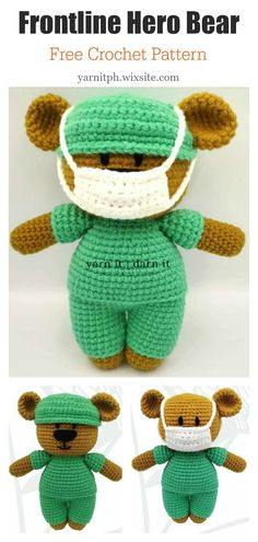 Amigurumi Frontline Hero Bear Free Crochet Pattern This Doll with Face Mask Free Crochet Pattern would make a fantastic gift for that special person in your life that dedicates themselves to the care of others. Crochet Eyes, Crochet Mask, Crochet Amigurumi Free Patterns, Free Crochet, Crochet Teddy Bear Pattern Free, Kawaii Crochet, Crochet Appliques, Crochet Food, Free Knitting
