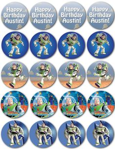 Custom Buzz Lightyear Cupcake Toppers  Digital by nradesigns, $5.00 Happy Birthday, 3rd Birthday, Birthday Parties, Birthday Cakes, Birthday Ideas, Festa Toy Story, Toy Story Party, Balloon Toys, Balloons
