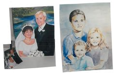 by Karen Straight: 2 commissioned portraits done a few years ago...bride& groom are acrylic on canvas, children are watercolor, done from separate photos.
