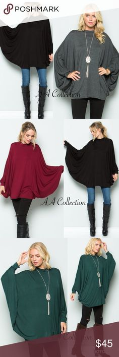 Long dolman sleeves drape Poncho top tunic dress Long dolman sleeves drape Poncho top, tunic dress. Great stretchy. Super comfy. Mock Cowl neck. 95%Rayon +5%Spandex. Tops