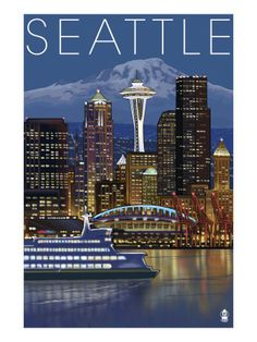 Seattle, Washington - Night Skyline - Image Only - Lantern Press Photography Giclee Art Print, Gallery Framed, Espresso Wood), Multi Seattle Washington, Washington State, Skyline Image, Night Skyline, Evergreen State, Road Trip Usa, Vintage Travel Posters, Urban Landscape, Pacific Northwest