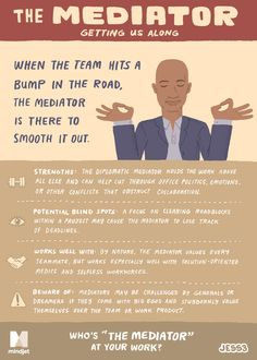 Are you the #Mediator at your workplace?    Naturally intuitive and considerate, Mediators are great at smoothing over conflicts and calming frustrated employees.      Courtesy: MindJet