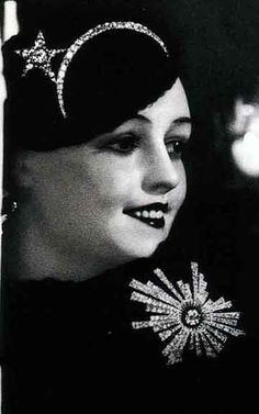 1932 Chanel Diamond Brooches and Diadem Shown on Wax Model. From Jewelry by Chanel by Mauries.