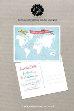 Destination wedding World map International by alacartepaperie