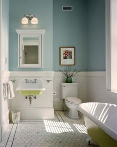 Like the floor and sink...    Great paint color for a small bathroom - Benjamin Moore's Summer Shower 2135-60