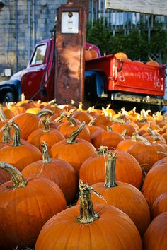 pumpkins + vintage pickup truck #autumn #fall