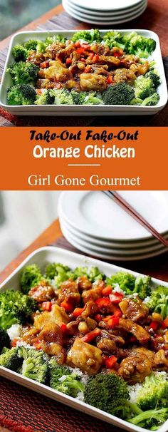 Lightly crispy chicken coated in a citrus-y sweet sauce. No drive-through required!   girlgonegourmet.com