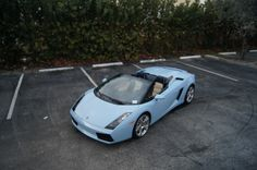 """Tiffany Blue"" Lamborghini Gallardo Spider:  Where else in the USA will you see a ""Tiffany Blue"" Lamborghini Gallardo spider? We don't see this special color everyday. This beauty had a full coverage premium paint protection film installed and is ready to roll on A1A this weekend! This is a South Florida car for sure!"