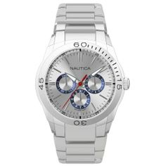 Nautica Men's N13621G NAC 100 Classic Analog Watch NAUTICA. $135.00. Water-resistant to 50 M (165 feet). Case diameter: 40. Durable mineral crystal protects watch from scratches. Stainless steel case. Quartz movement