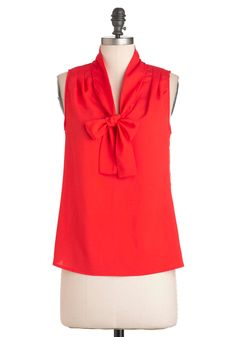 Cherry Picking Top - Red, Solid, Tie Neck, Sleeveless, Mid-length, Work, Casual, Pinup, 60s - L