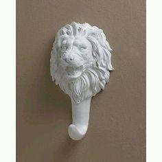 "White Lion Wall Hook Safari Africa Storage LARGE 9 3/8 "" TALL"